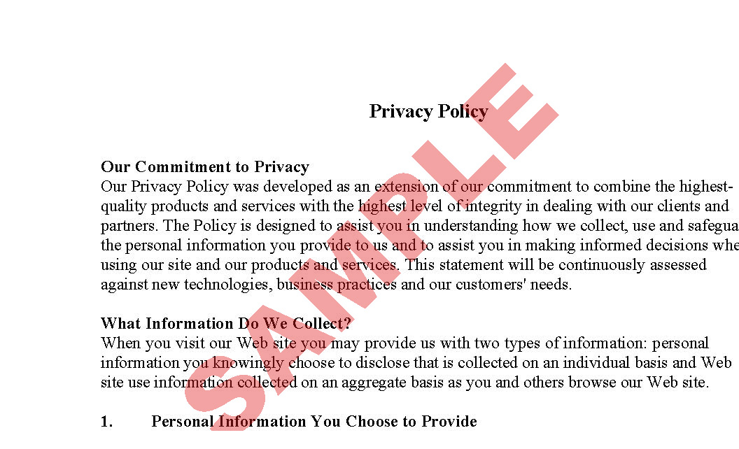 Website privacy policy sample preview for Ecommerce privacy policy template