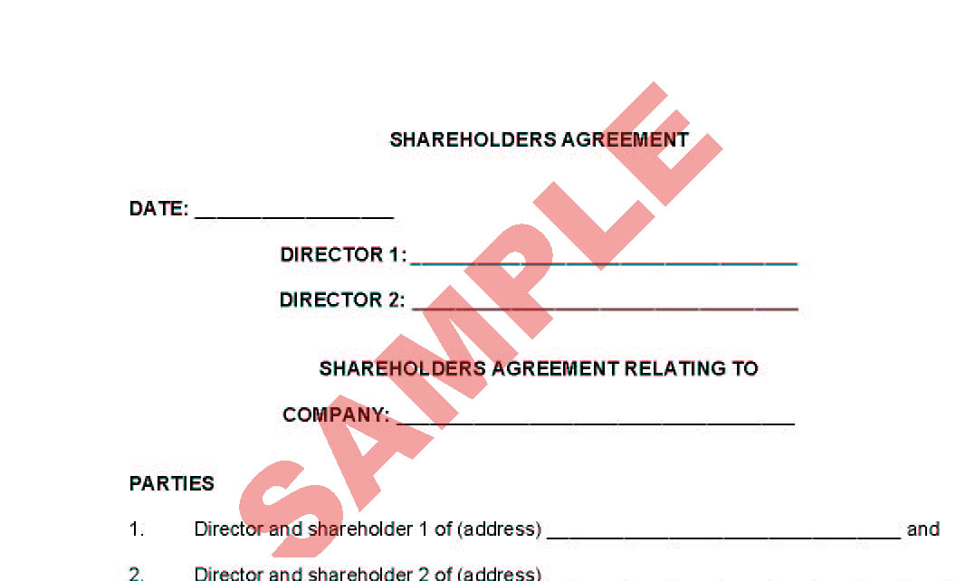 legal agreement forms shareholders agreement preview