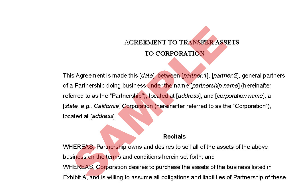 Agreement To Transfer Assets To Corporation Business Forms Legal
