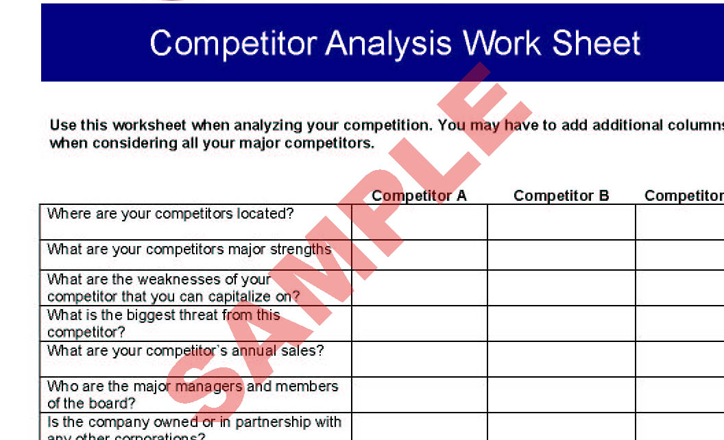 Competitor Analysis Worksheet - Business Forms - Start-Up - Sa