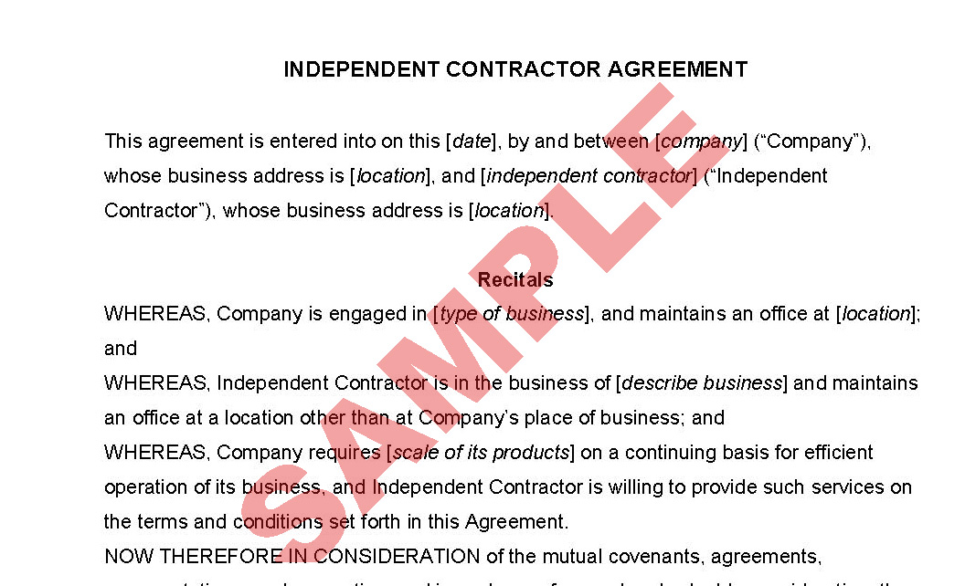 Independent Contractor Agreement  Business Forms  Consultant