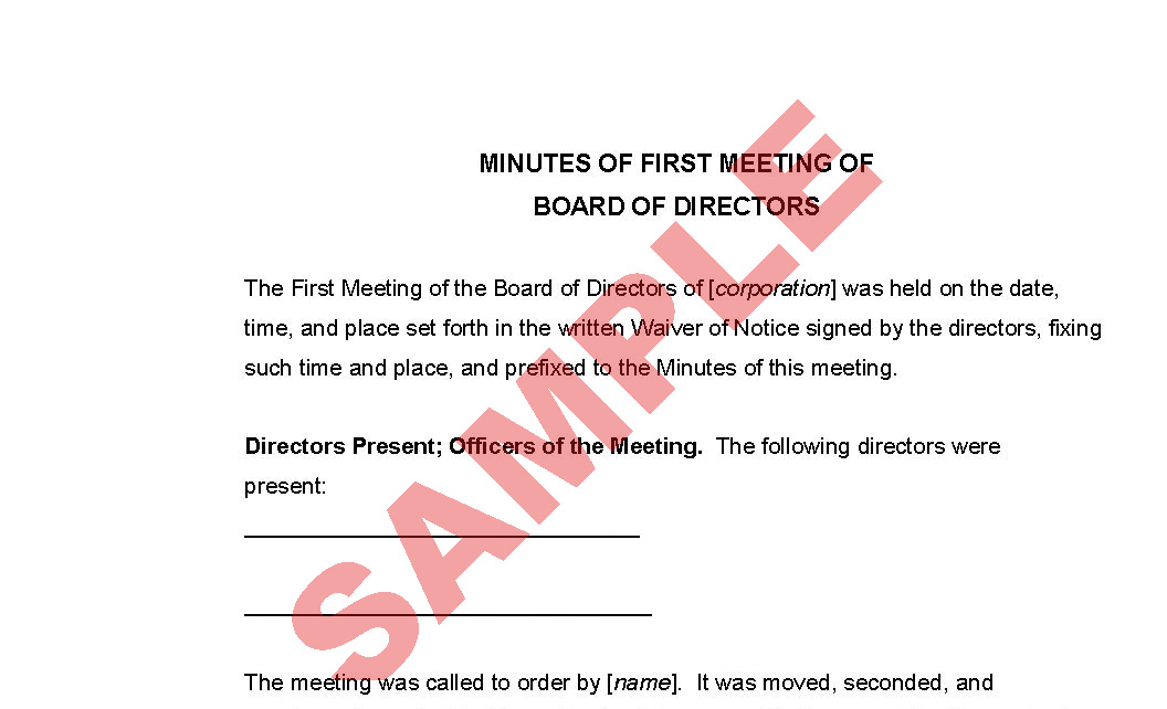 sample of minutes of a meeting for company