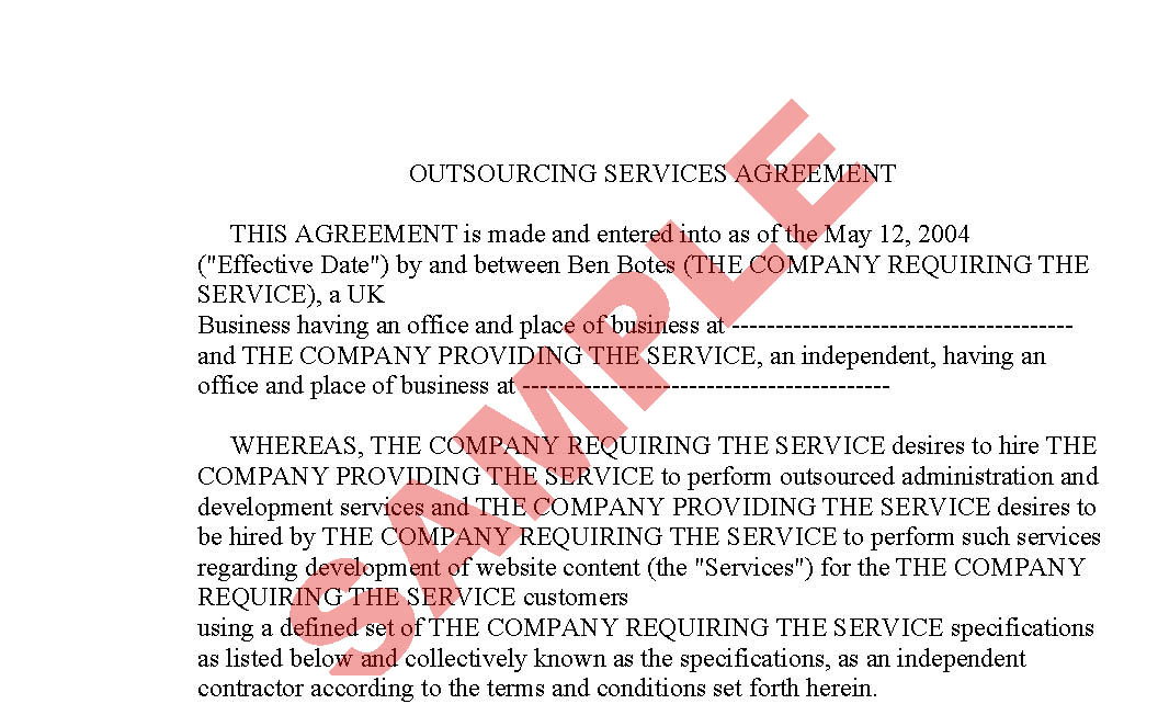 Outsourcing Agreement - Business Forms - Legal & Agreement