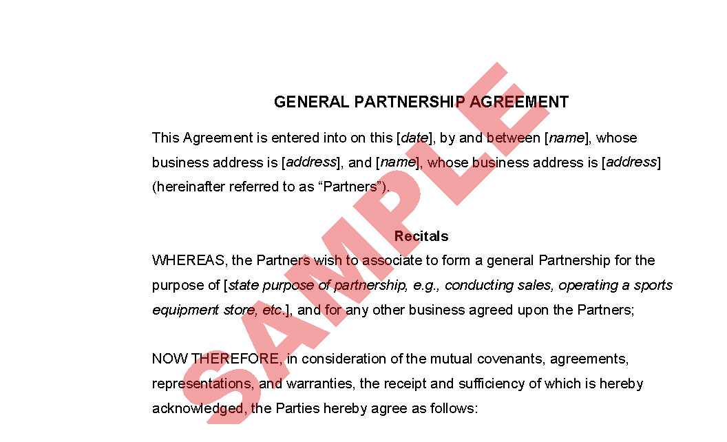 General Partnership Agreement Business Forms Legal Agreement