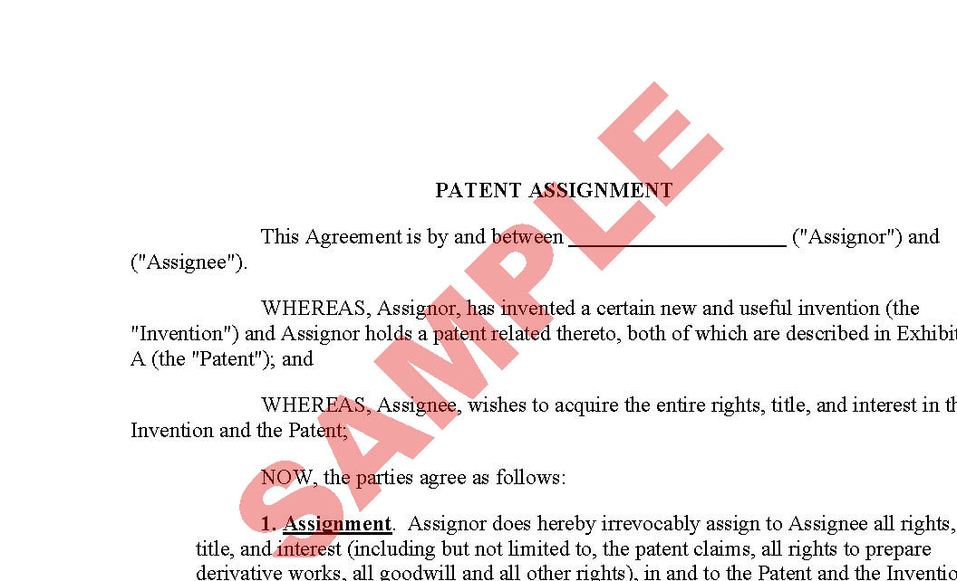 Assignment Of Patent  Business Forms  Patents  Licensing Forms