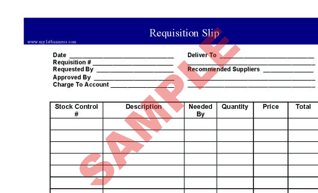 Requisition Slip - Business Forms - General Admin Forms - Sa