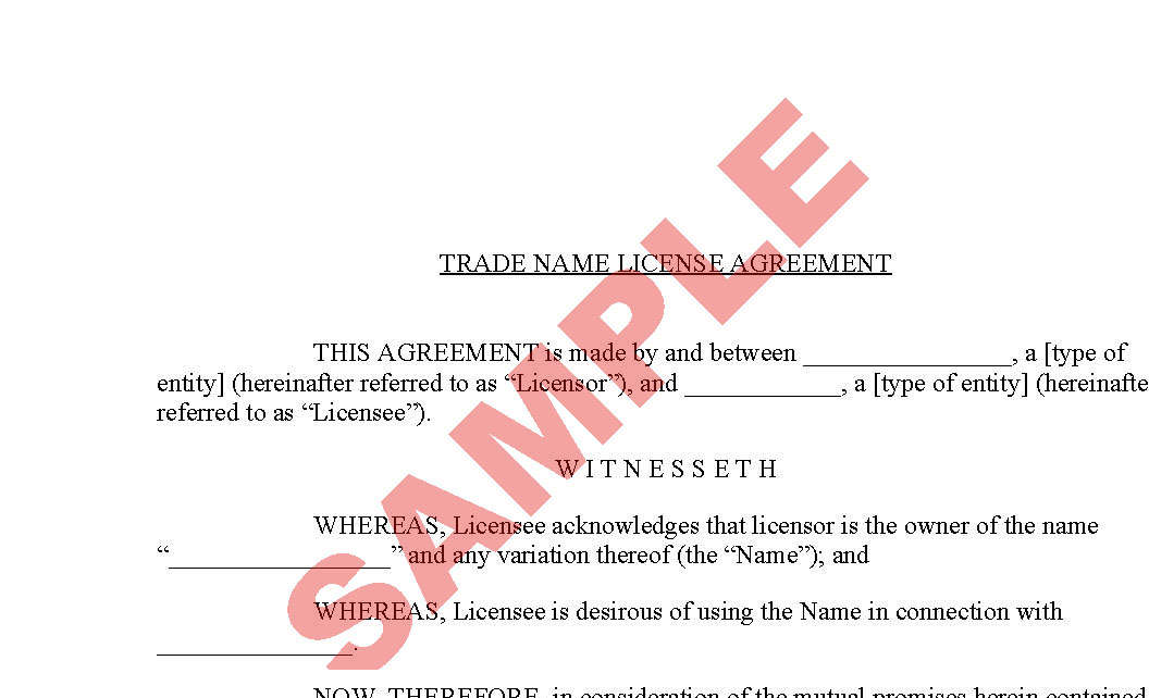 Trade Name License Agreement - Business Forms - E-Commerce - Sa